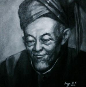 Lukisan Potret K.H. Hasyim Asy'ari 33 x 33 cm, Oil on Canvas, 2016 Karya Rengga AP